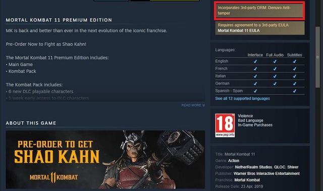 Mortal Kombat 11 Steam-Version mit Denuvo – Spielinformationen